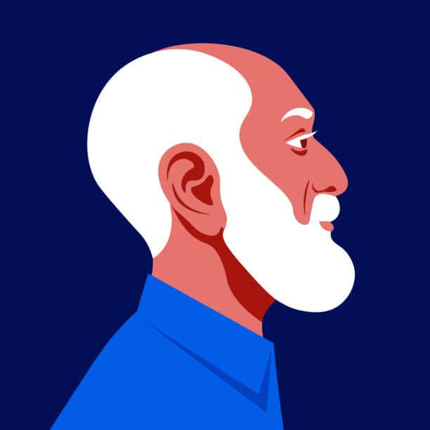 The head of a bald old man with a white beard in profile. Grandfather's face in profile. Avatar for social networks. Vector flat illustration